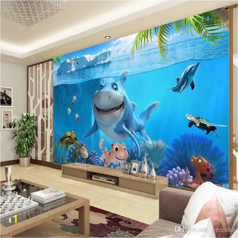 3D Cute Shark Wallpaper Underwater World Wall Mural Personalized Custom Wallpaper Kids Bedroom Nursery TV Backdrop Cartoon Room Decor Flowers