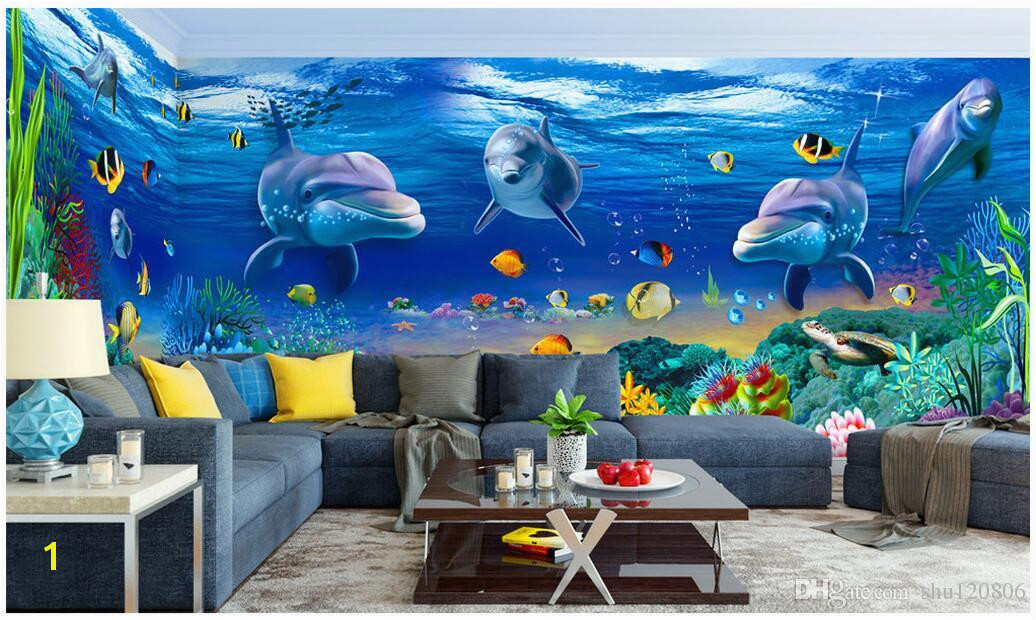 Underwater Wall Murals Uk 3d Wallpaper Cloth Custom Dream Underwater World Dolphin theme