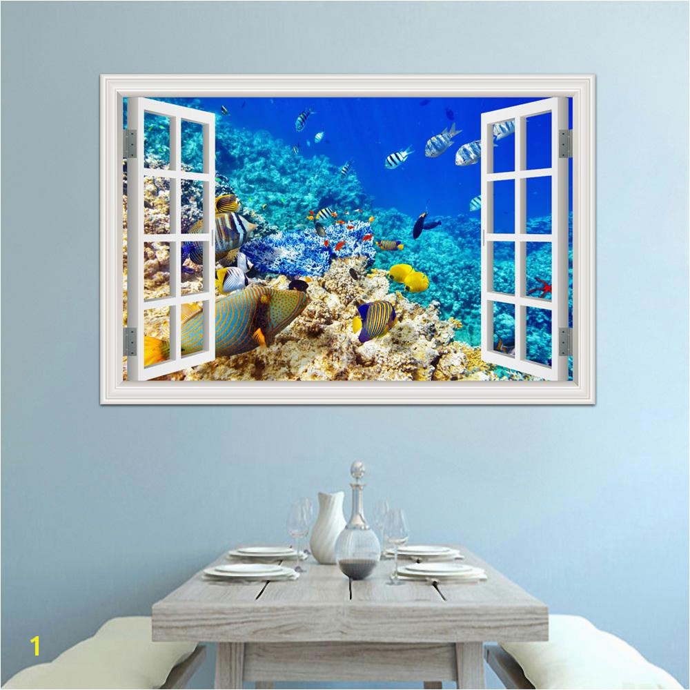 3d Window View Underwater World And Fish Wall Stickers Decals PVC Mural Wallpapers For Living Room Wall Art Decal Decoration Wall Decals Stickers Wall