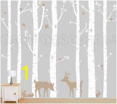 Birch Forest Birch Trees Birch Trees Vinyl Birch Tree Wall Decal with Deer
