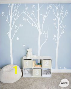White Tree Wall Decals White Birch Trees Decal Nursery wall decor Tree Wall Mural stickers