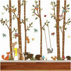 Birch Tree Deer Wall Decal with Forest animals BirchTree Decal Birch Tree Wall Decal Kids Vinyl Sticker Removable