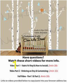 Nursery Wall Decals White Birch Tree Wall Decal Reusable Easier to Install 2 3 4 and 5 tree options NBT
