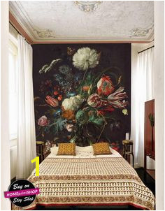 Oil dutch dark painting vintage victorian floral wallpaper wall art decor Removable Self Adhesive peel and stick wallpaper wall mural