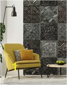 "New ""Tin Tiles"" wall murals collection by KOZIEL ceiling tiles accent wall victorian wallpaper patchwork"