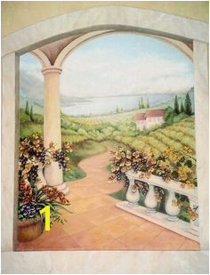 Tuscan Vineyard wall mural painted by Kyle King Decorative Artist Mural Painting Mural