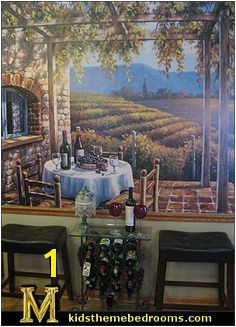 Wine lovers will delight in this atmospheric wall mural of a vineyard Tuscany Vineyard