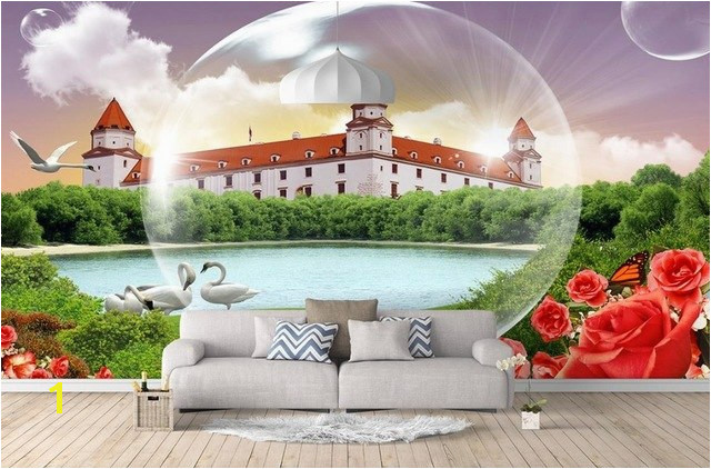 3d stereoscopic wallpaper Custom 3d mural wallpaper Rose Castle Bubble Landscape 3d wall murals wallpaper for