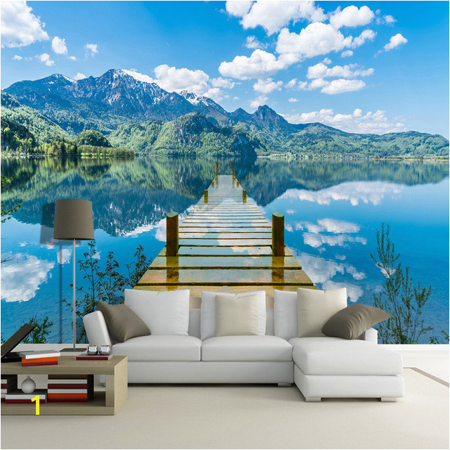 3D Wallpaper Nature Scenery Blue Sky Wooden Bridge Lake Wall Mural Living Room TV Sofa Backdrop Wall Papers For Walls 3 D