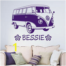 Personalised VW Camper Van Flowers Living Room Bedroom Vinyl Wall Sticker Decal