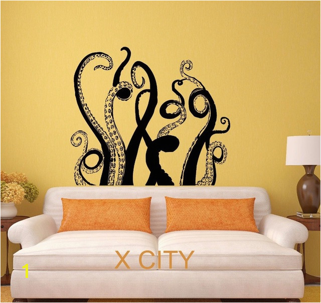 Octopus Tentacles Sea Monster Black Wall Art Decal Sticker Removable Vinyl Transfer Stencil Mural Home Decor S M L