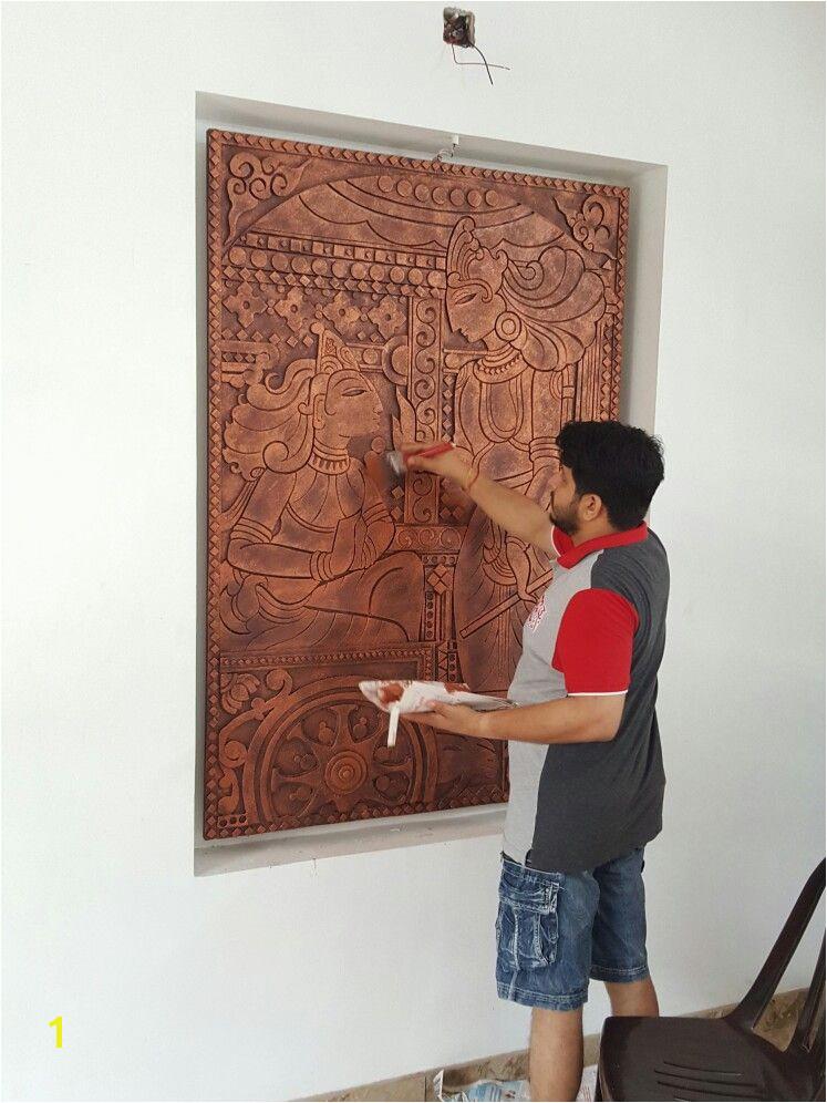 Murals sculpt Kerala Mural Painting 3d Painting Ceramic Painting Mural Wall Art