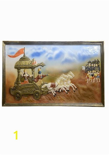 Hand made 3D Mural Painting Mahabharata A Multicolor