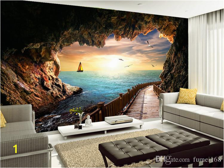 Custom Wallpaper Beautiful Sunset Cave Seaside Landscape 3D Wall Mural Living Room Dining Room Modern Creative Wall Papers Wallpapers Widescreen