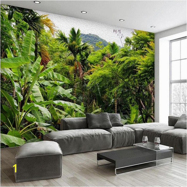 Wallpaper Retro Tropical Rain Forest Coconut Tree 3D Wall Murals Living Room Restaurant Cafe Backdrop Wall Decor 3D Fresco