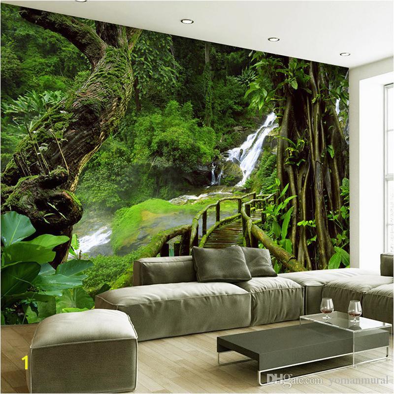 Wall Mural Cost Custom Wallpaper Murals 3d Hd Nature Green forest Trees Rocks