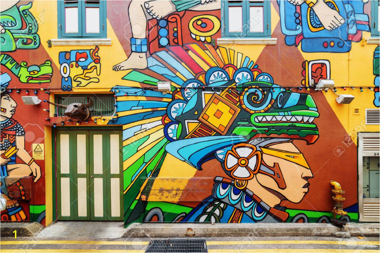 Singapore February 19 2017 Amazing Colorful Decorative Painted Pertaining to Wall Mural Painting Singapore