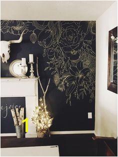 Faux Wallpaper Gold Paint Marker Mural