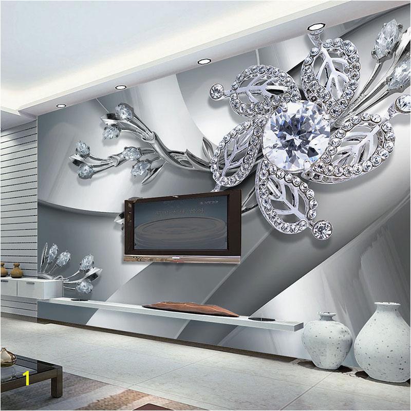 Wall Mural Photo Wallpaper Custom Any Size 3d Wall Mural Wallpaper Diamond Flower Patterns