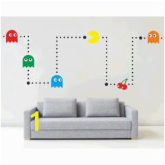 Pacman Wall Mural Sticker Kit Retro Vinyl Kids Games Decal Stencil Bedroom