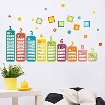 BIBITIME Chinese Math Wall Stickers Cartoon Animal Education Multiplication Table Digital Number Decal Window Sticker for