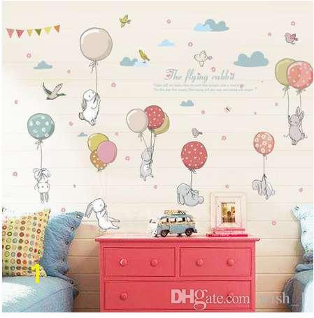 Wall Mural Stickers for Kids Rooms Cartoon Diy Super Cute Balloon Rabbit Wall Sticker for Kids Room