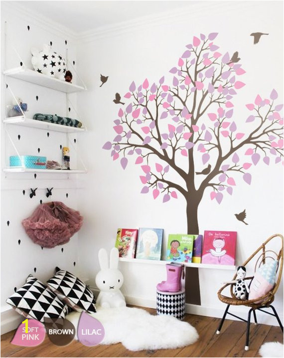 Wall Mural Stickers for Kids Rooms Nursery Tree Wall Sticker with Birds Wall Art Decoration for Kids