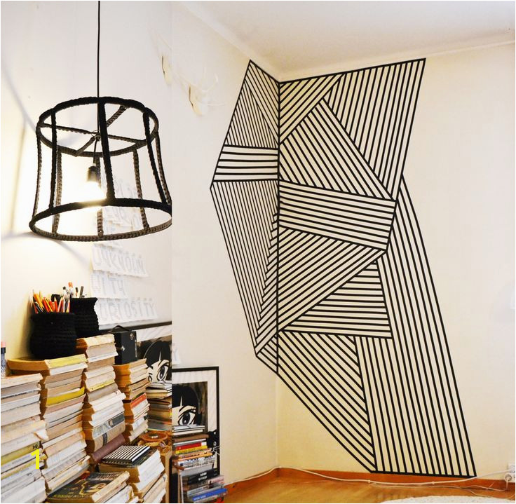 Wall decoration made with black plastic tape Do It Myself in 2019