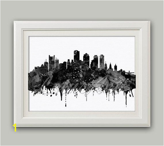 Boston Massachusetts Black White Watercolor Print Boston Skyline Wall Art Boston Poster Home Decor Wall Hanging Travel Art Print Custom Art