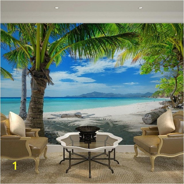 Home Decor Wall Papers 3D Tropical Beach Palm Tree Wallpaper Mural Living Room Bedroom Self Adhesive Vinyl Silk Wallpaper