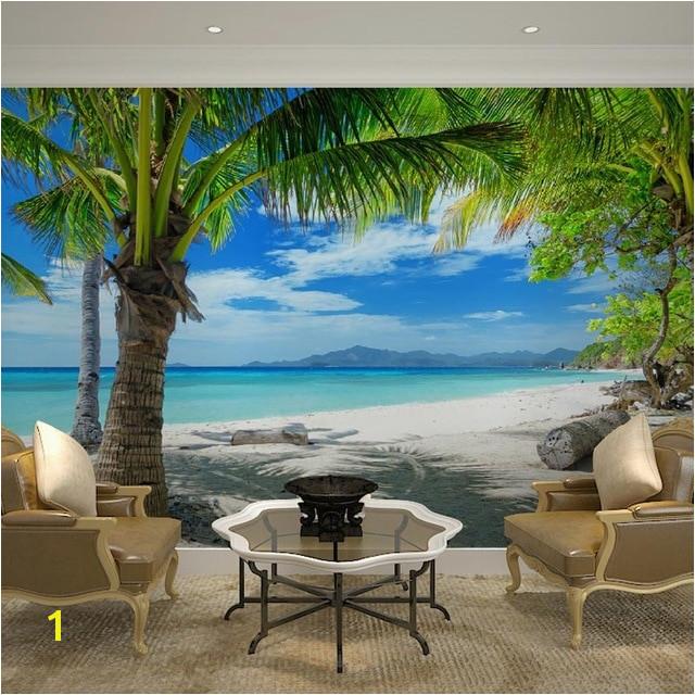 Home Decor Wall Papers 3D Tropical Beach Palm Tree Wallpaper Mural Living Room Bedroom Self Adhesive Vinyl Silk Wallpaper