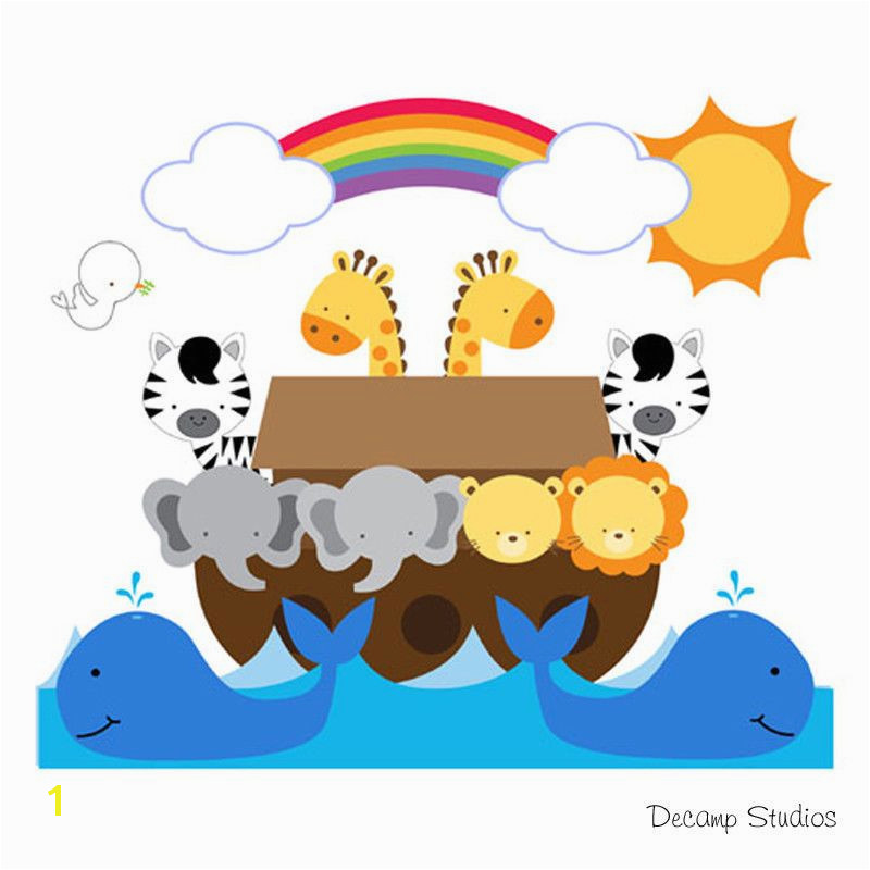Noahs Ark Wall Mural Decals Bible Story Baby Nursery Safari Animals Art Stickers DecampStudios