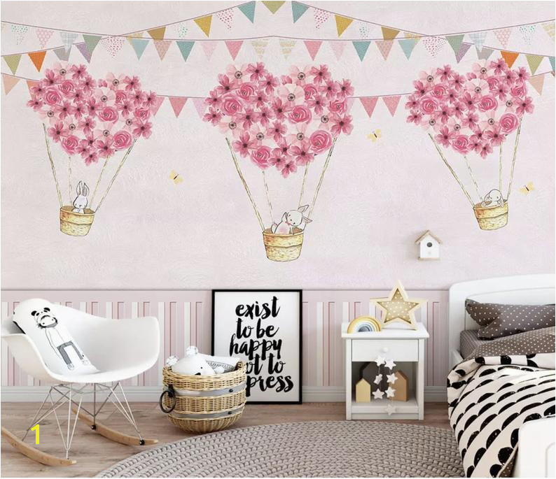 Nursery Wallpaper For Kids Pink Hot Air Balloon Wall Mural Cartoon Rabbit Wall Art Girls Boys Bedroom Baby