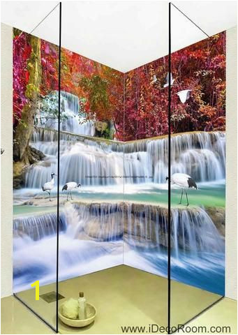 3D Wallpaper Autumn Red Forest Waterfall Birds Wall Murals Bathroom Decals Wall Art Print Home fice Decor I want one Pinterest