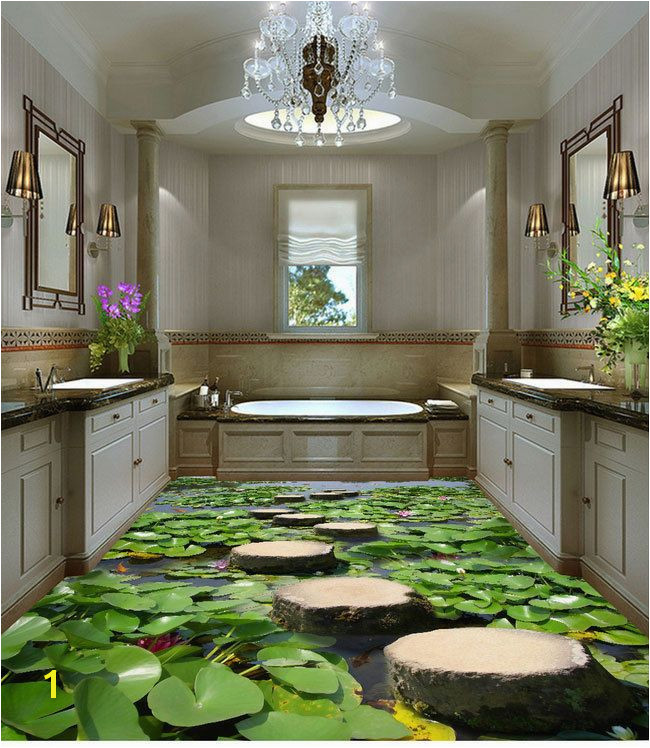 Lilypad Pond Stone Stage Fish Floor Decals 3D Wallpaper Wall Mural Floors