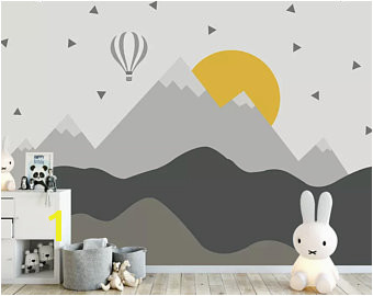 Kids Mountain Wallpaper Nursery Hot Air Balloon Wall Murals Child Landscape Reusable Wall Art Baby Room Wall Decor Boys Bedroom Girls Bedroo