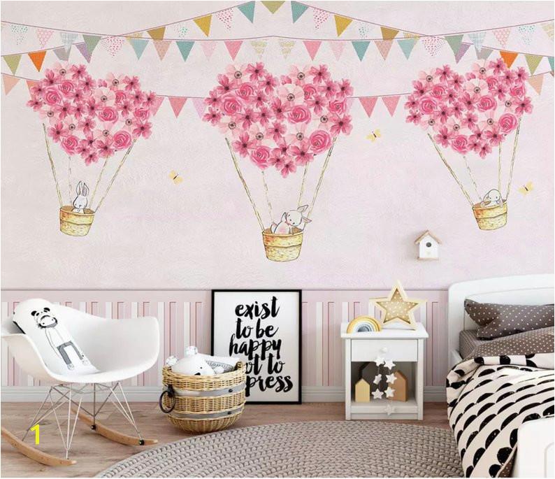 Wall Murals for Kids Bedrooms Nursery Wallpaper for Kids Pink Hot Air Balloon Wall Mural