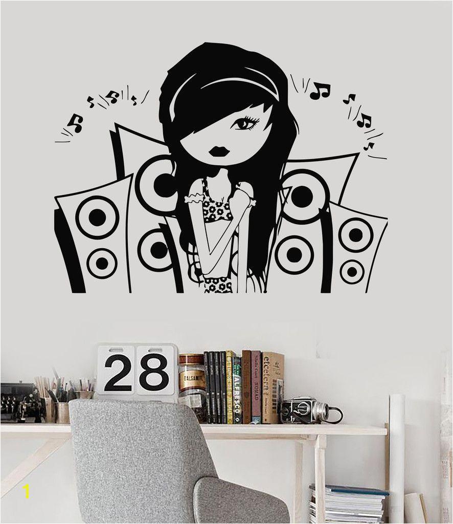 Vinyl Wall Decal Music Teen Girl Room Music Speakers Stickers Mural 028ig