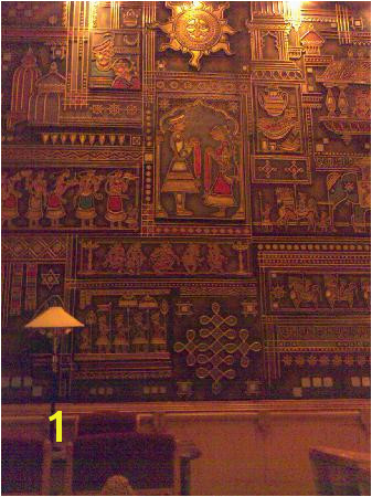 Raj Palace Detail of the wall mural in the REception