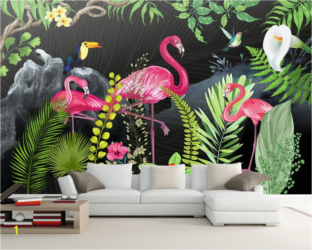 Beibehang Custom wallpaper murals hand drawn tropical rainforest flamingo living room sofa TV backdrop walls murals 3d wallpaper