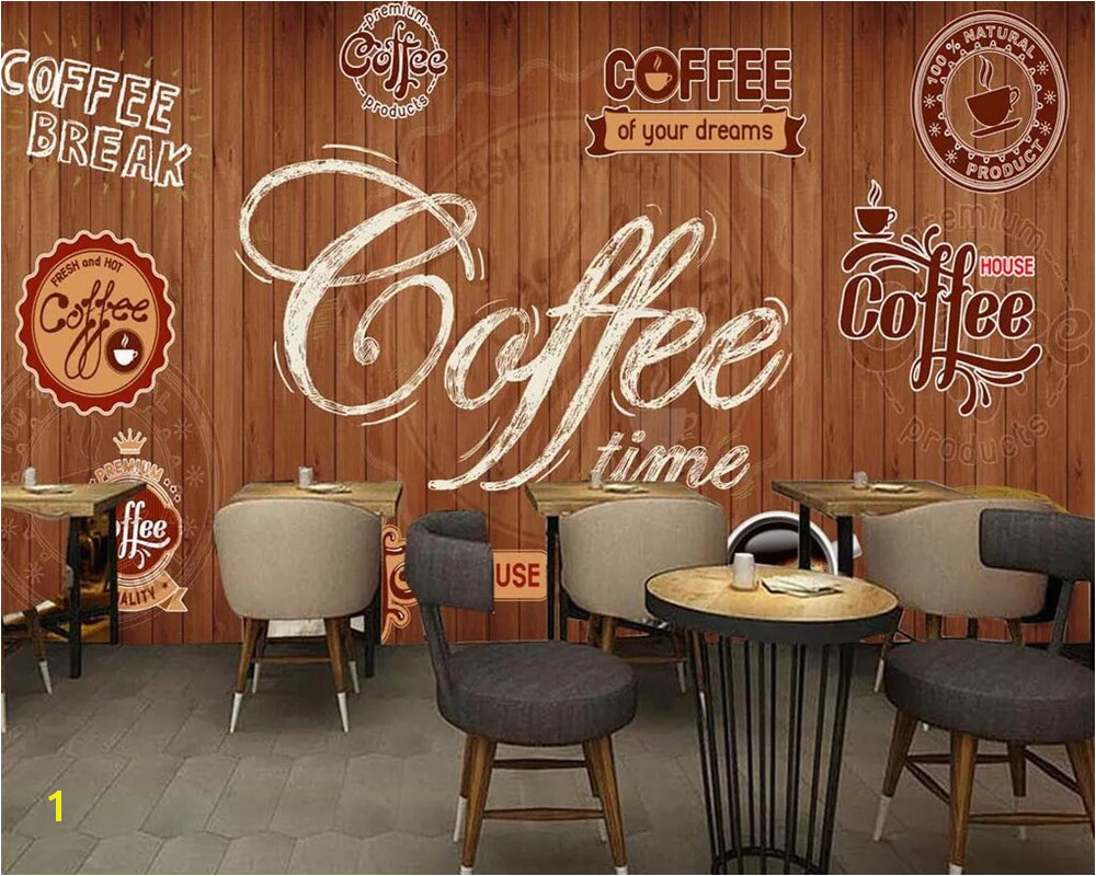 Beibehang Custom wallpaper murals wood shading retro coffee label restaurant cafe background wall decoration mural 3d wallpaper