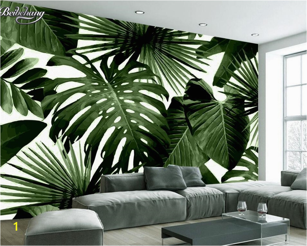 Beibehang Modern custom 3D wallpaper tropical rain forest palm banana leaf 3D living room background wall murals wallpaper