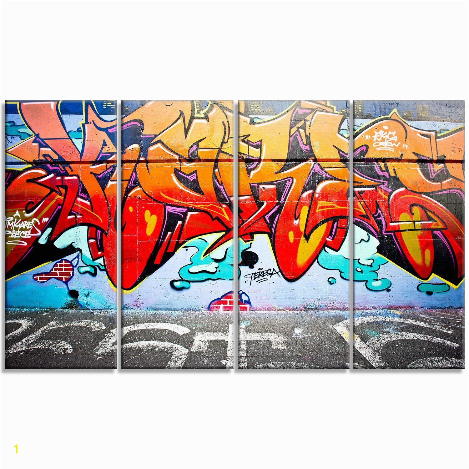 Melbourne Street Art Abstract Graffiti 4 Piece graphic Print on Wrapped Canvas Set