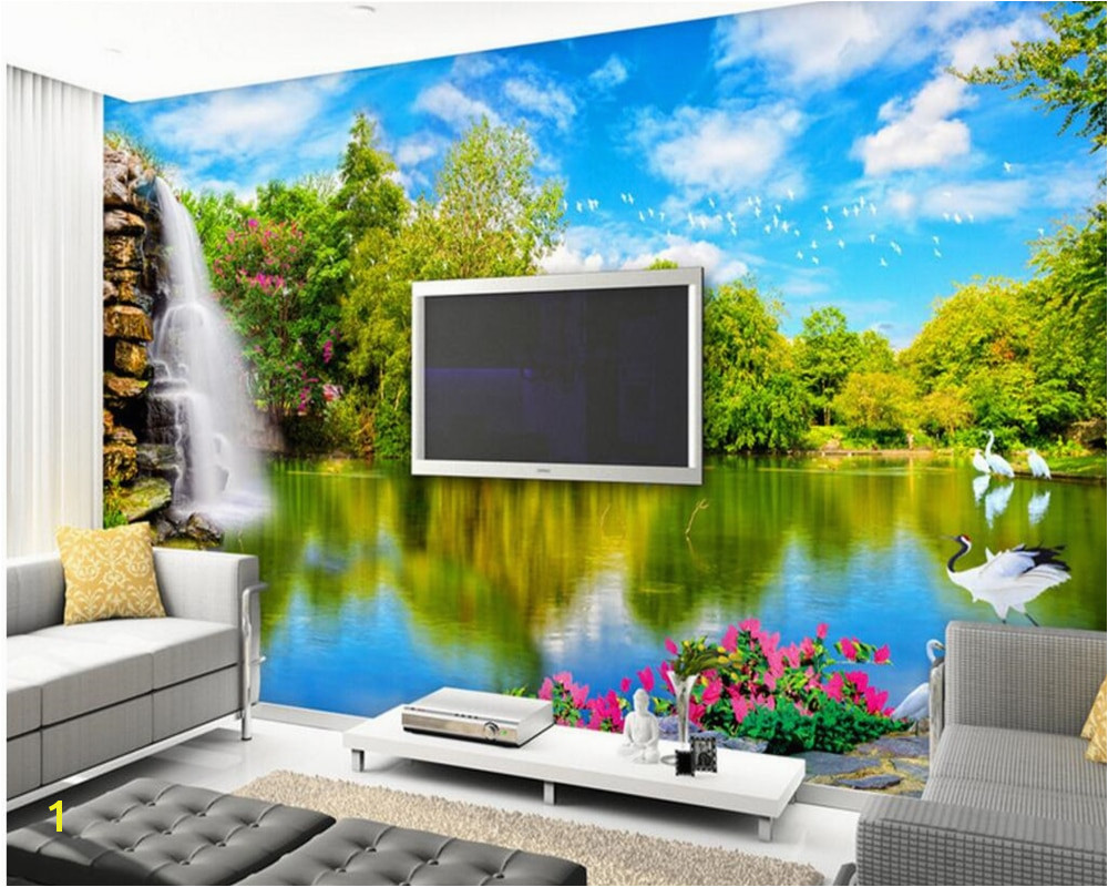 Beibehang 3d wallpaper murals on the wall hd wallpaper waterfall lake water nature scenery 3 d sitting room TV setting wallpaper
