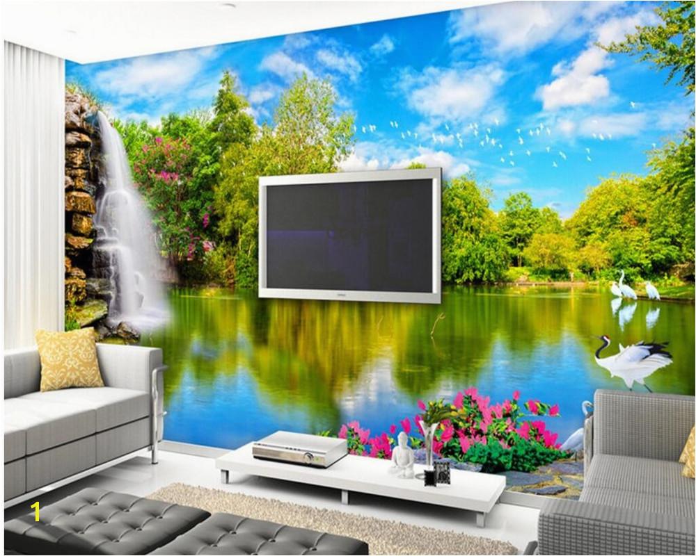 Beibehang 3d wallpaper murals on the wall hd wallpaper waterfall lake water nature scenery 3 d sitting room TV setting wallpaper