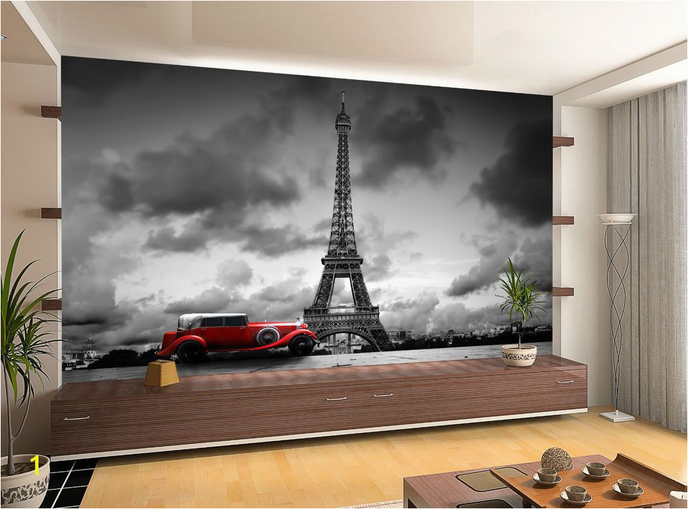 France Paris Eiffel Tower Retro Car Wall Mural Wallpaper GIANT WALL DECOR