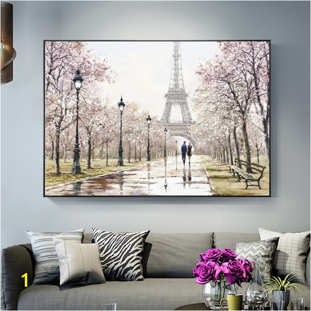 Romantic Paris Tower Wall Art Canvas Paintings The Wall Lover In Paris Street Landscape Art Prints For Living Room Cuadros