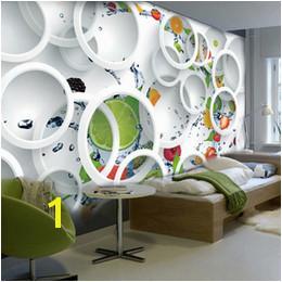 Custom Mural Wallpaper Modern Abstract Art 3D Stereoscopic White Circle Fruits Wall Painting Restaurant Kitchen Wallpaper fruit wall murals on sale