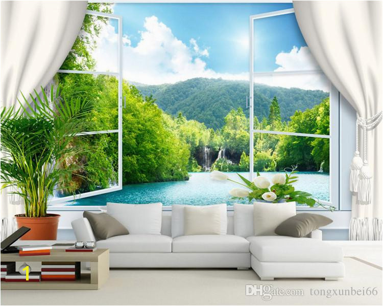 Custom Wall Mural Wallpaper 3D Stereoscopic Window Landscape Background Wall Murals Wallpaper For Living Room Papel De Parede 3D Free Desktop Wallpaper