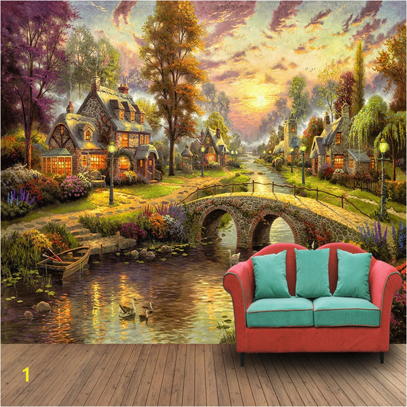 European Style Village Forest House Night Scene Pil Painting TV Wall 3D Wall Murals Wallpaper Living Room Papel De Parede